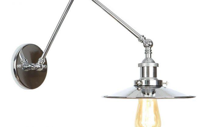 Historická nástenná lampa Alton v striebornej farbe
