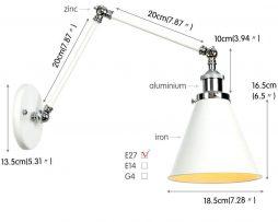 Retro nástenná lampa Shadeness v bielej farbe (4)
