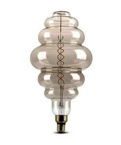 Umelecká žiarovka BUBBLE, dymová - 8W, E27, 350lm, Stmievateľná, Teplá biela