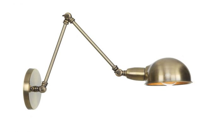 Historické nástenné svietidlo Bedside s nastaviteľným ramenom v staromosádznej farbe 670x420 - Historické nástenné svietidlo Bedside s nastaviteľným ramenom v staromosádznej farbe