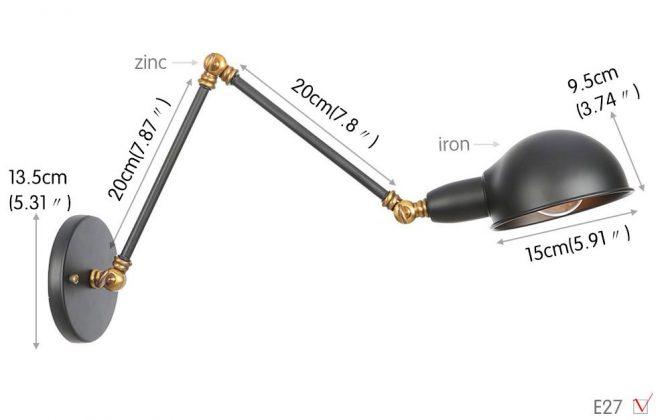 Historické nástenné svietidlo Bedside s nastaviteľným ramenom v zlato čiernej farbe. 670x420 - Historické nástenné svietidlo Bedside s nastaviteľným ramenom v zlato čiernej farbe