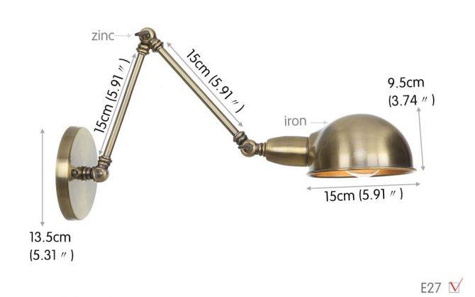 Historické nástenné svietidlo Bedside15 s nastaviteľným ramenom v staromosádznej farbe. 670x420 - Historické nástenné svietidlo Bedside15 s nastaviteľným ramenom v staromosádznej farbe