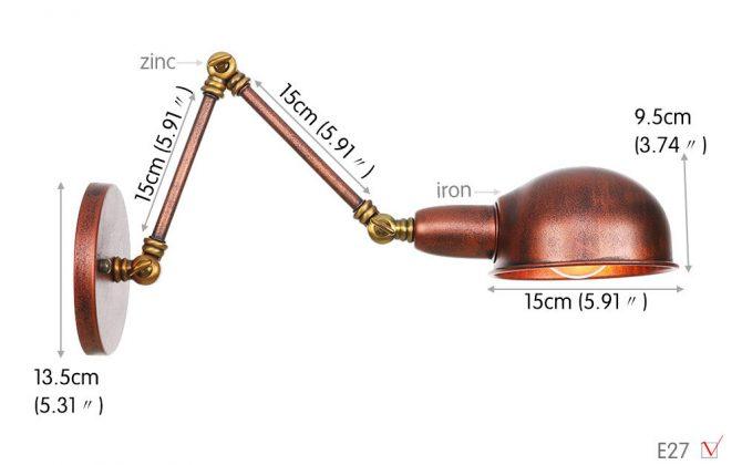Historické nástenné svietidlo Bedside15 s nastaviteľným ramenom v zlato medenej farbe. 670x420 - Historické nástenné svietidlo Bedside15 s nastaviteľným ramenom v zlato medenej farbe