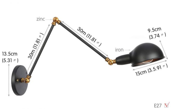 Historické nástenné svietidlo Bedside30 s nastaviteľným ramenom v čierno zlatej farbe. 670x420 - Historické nástenné svietidlo Bedside30 s nastaviteľným ramenom v čierno zlatej farbe