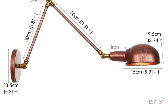 Historické nástenné svietidlo Bedside30 s nastaviteľným ramenom v zlato medenej farbe 670x420 - Historické nástenné svietidlo Bedside30 s nastaviteľným ramenom v zlato medenej farbe