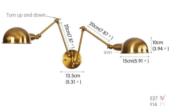 Historické nástenné svietidlo Tweenside s dvomi nastaviteľnými ramenami v zlatej farbe. 670x420 - Historické nástenné svietidlo Tweenside s dvomi nastaviteľnými ramenami v zlatej farbe