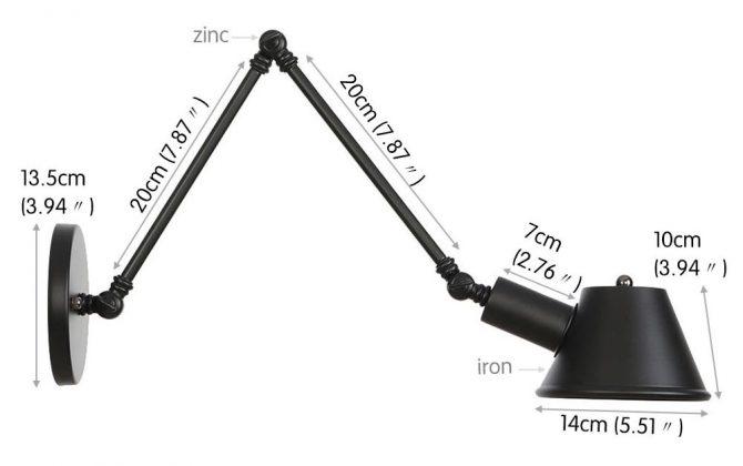 Historické nástenné svietidlo Vintage20 s nastaviteľným ramenom v čiernej farbe 670x420 - Historické nástenné svietidlo Vintage20 s nastaviteľným ramenom v čiernej farbe