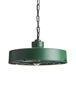 Kovové závesné industriálne svietidlo so zeleným tienidlom a grilom