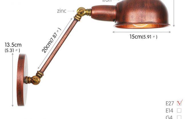 Retro nástenná lampa Side20 v staro medenej farbe 670x420 - Retro nástenná lampa Side20 v staro medenej farbe