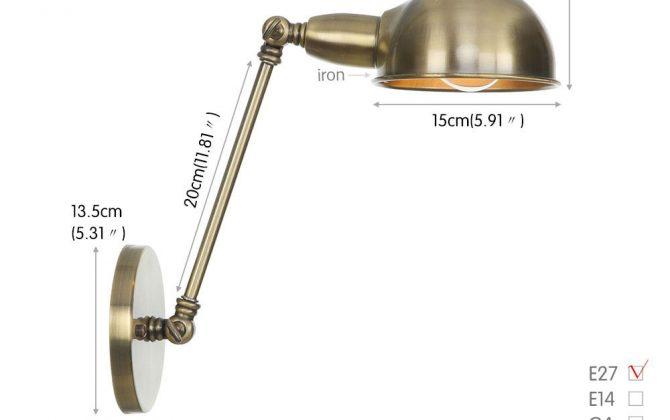 Retro nástenná lampa Side20 v staromosádznej farbe 670x420 - Retro nástenná lampa Side20 v staromosádznej farbe