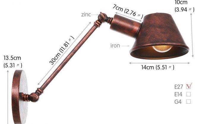 Retro nástenná lampa Tedy30 v staro medenej farbe 670x420 - Retro nástenná lampa Tedy30 v staro medenej farbe
