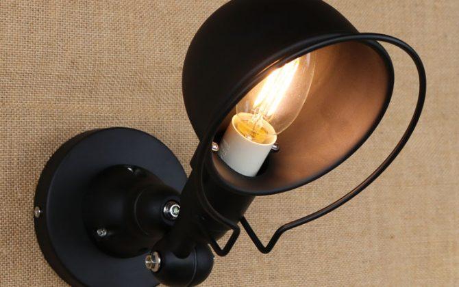 Retro nástenné svietidlo France na žiarovky E143 670x420 - Retro nástenné svietidlo France na žiarovky E14 v čiernej farbe