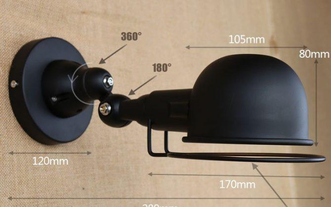 Retro nástenné svietidlo France na žiarovky E145 670x420 - Retro nástenné svietidlo France na žiarovky E14 v čiernej farbe
