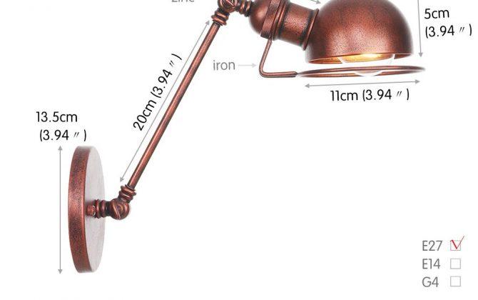 Vintage nástenná lampa Masel20 v staro medenej farbe. 670x420 - Vintage nástenná lampa Masel20 v staro medenej farbe