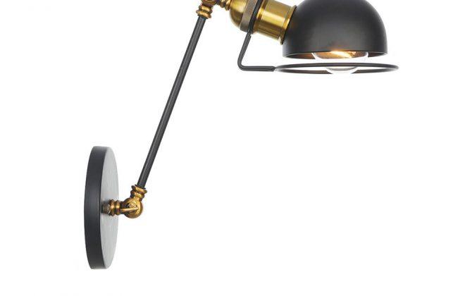 Vintage nástenná lampa Masel20 v zlato čiernej farbe 670x420 - Vintage nástenná lampa Masel20 v zlato čiernej farbe