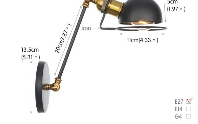 Vintage nástenná lampa Masel20 v zlato čiernej farbe. 670x420 - Vintage nástenná lampa Masel20 v zlato čiernej farbe