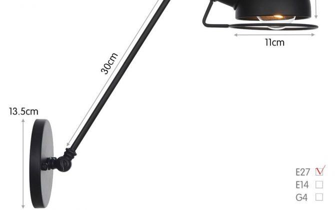Vintage nástenná lampa Masel30 v čiernej farbe. 670x420 - Vintage nástenná lampa Masel30 v čiernej farbe