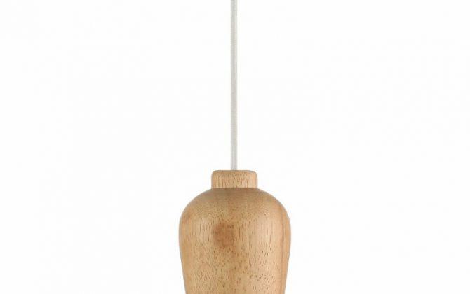 Závesné drevené svietidlo s textilným káblom v bielej farbe