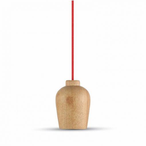 Závesné drevené svietidlo s textilným káblom v červenej farbe