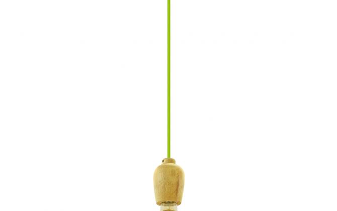 Závesné drevené svietidlo s textilným káblom v zelenej farbe.. 670x420 - Závesné drevené svietidlo s textilným káblom v zelenej farbe