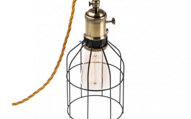 Závesné svietidlo BIRD s čiernou klietkou a textilným káblom  670x420 - Závesné svietidlo BIRD s čiernou klietkou a textilným káblom vo Whiskey farbe