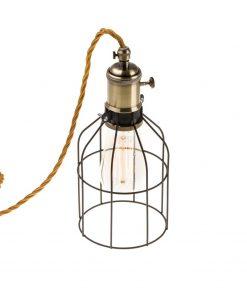 Závesné svietidlo BIRD s čiernou klietkou a textilným káblom