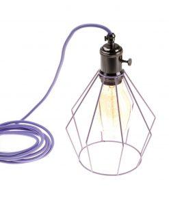 Závesné svietidlo OCTAGON s fialovou klietkou a textilným káblom