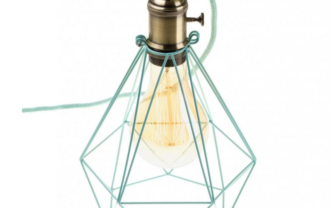 Závesné svietidlo OCTAGON so svetlo zelenou klietkou a textilným káblom  670x420 - Závesné svietidlo OCTAGON so svetlo zelenou klietkou a textilným káblom