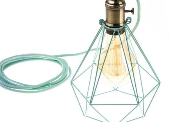Závesné svietidlo OCTAGON so svetlo zelenou klietkou a textilným káblom