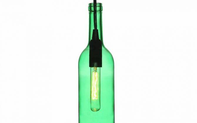 Závesné svietidlo do baru Bottle v zelenej farbe
