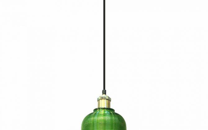 Závesné svietidlo so zeleným skleneným tienidlom