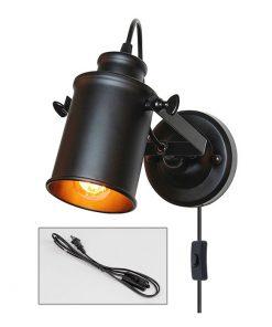 Retro nástenné svietidlo Reflector v čiernej farbe so spínačom, 180cm, EU zástrčka