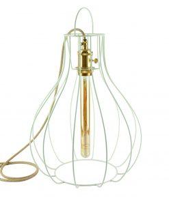 Stojatá lampa s klietkou v tvare svietnika so spínačom v zlatej farbe