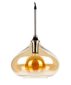 Visiace svietidlo s chrómovou päticou a zlatým dekoračným skleneným tienidlom