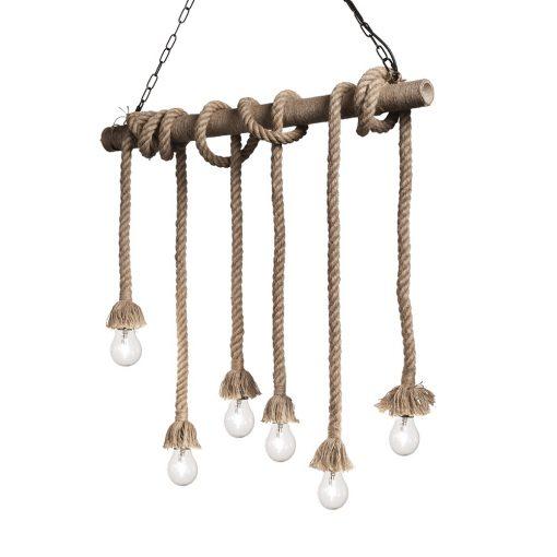 Závesný lanový luster v retro štýle, šesť pätíc | Ideal Lux