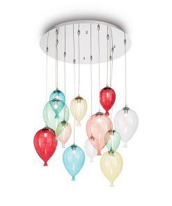 Kreatívny sklenený luster CLOWN SP12 v dizajne 12 balónikov