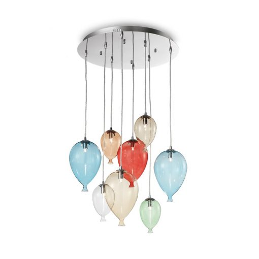 Kreatívny sklenený luster CLOWN SP12 v dizajne 8 balónikov