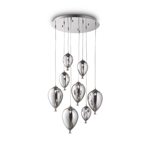 Kreatívny sklenený luster CLOWN SP8 v dizajne 8 balónikov v chrómovej farbe | Ideal Lux