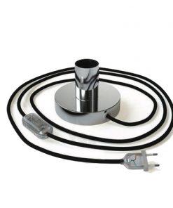 Chrómová kovová stolná lampa s textilným káblom, vypínačom a dvojpólovou zástrčkou | Daylight Italia