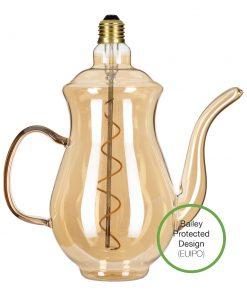 LED Žiarovka Čajník Chai Gold, E27, 4W, 2200K, 190lm, Stmievateľná | Bailey Lights