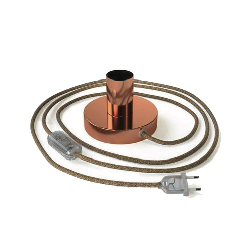 Medená kovová stolná lampa s textilným káblom, vypínačom a dvojpólovou zástrčkou | Daylight Italia