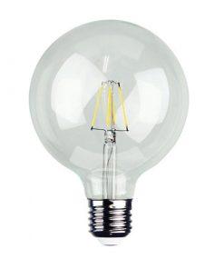 Priehľadná LED žiarovka - G95, 4W, E27, 440lm, Teplá biela.