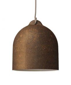 Urbanistické závesné svietidlo s keramickým tienidlom Bell M v hrdzavej farbe