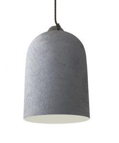 Urbanistické závesné svietidlo s keramickým tienidlom Bell XL v cementovej farbe