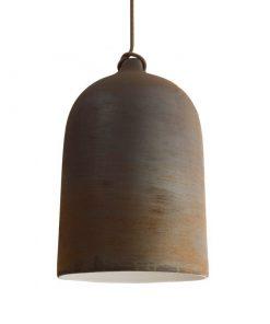 Urbanistické závesné svietidlo s keramickým tienidlom Bell XL v hrdzavej farbe