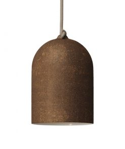 Urbanistické závesné svietidlo s keramickým tienidlom Bell XS v hrdzavej farbe