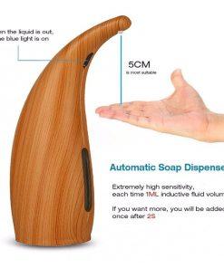 Inteligentný automatický dávkovač gélu a mydla na ruky s textúrou dreva