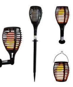 Solárne LED svietidlo s efektom horiaceho plameňa 3v1 (montáž na stenu : stĺpik : záves) je multifunkčné exteriérové svietidlo na vonkajšie použitie
