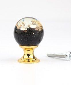 Úchytka na dvierka v tvare živicovej gule s čiernymi kamienkami a kryštálmi, 25 mm