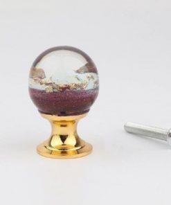 Úchytka na dvierka v tvare živicovej gule s fialovými kamienkami a kryštálmi, 25 mm